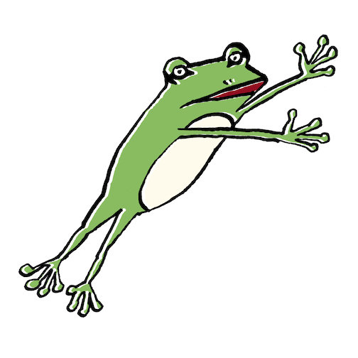 ジャンプするアマガエル
