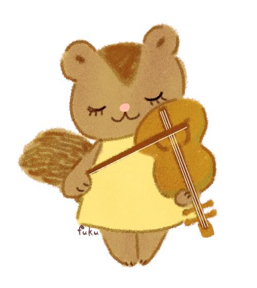 「山の音楽家」バイオリンを弾くこりす