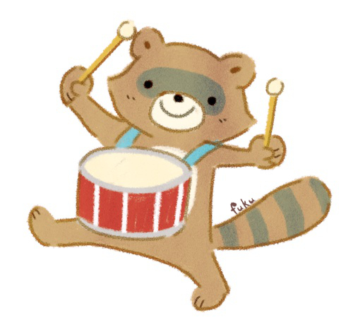 「山の音楽家」太鼓を叩く狸