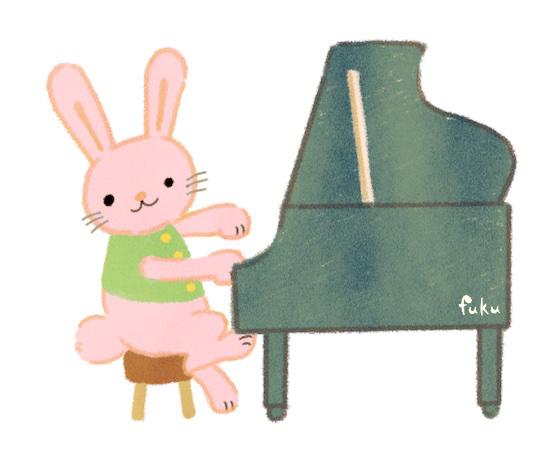 「山の音楽家」ピアノを弾くウサギ