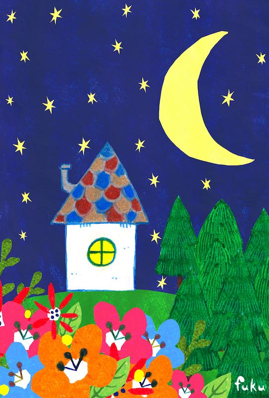 クレヨン画「家と月」