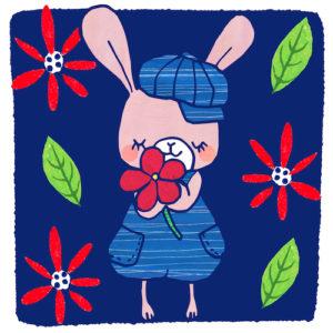 うさぎと花