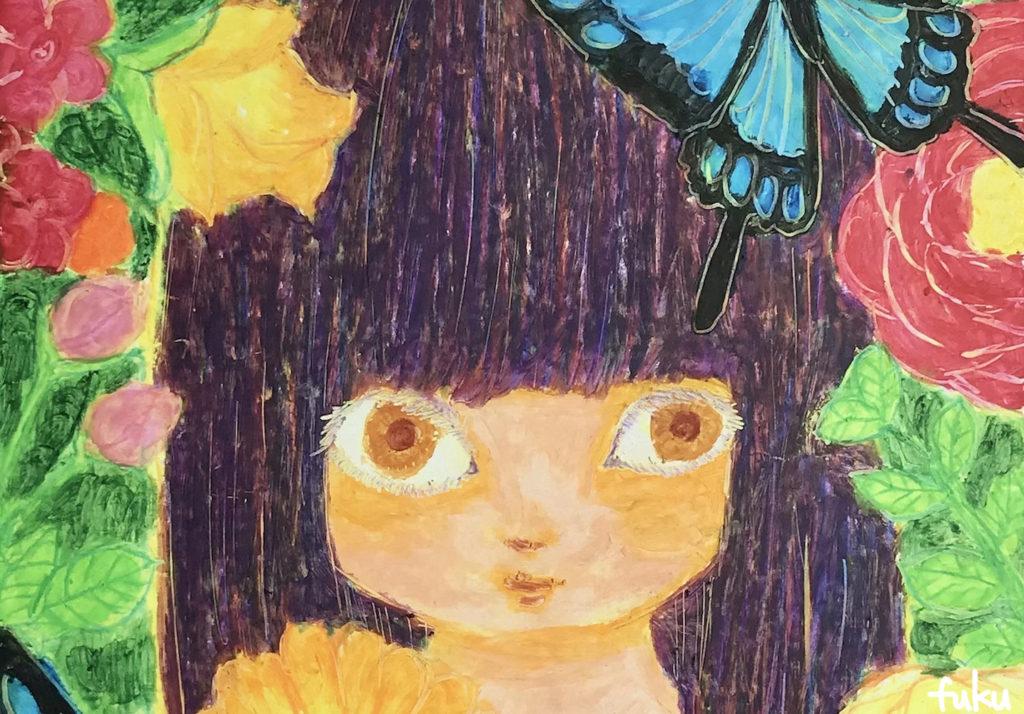 蝶と花と女の子のイラスト