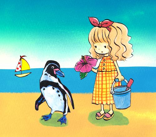 砂浜の女の子とペンギン